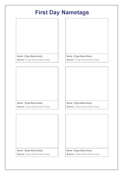 First day of school name tag template