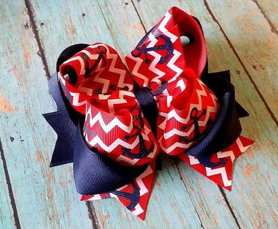 Anchor Hair Bow...Red Chevron Hair Bow...Chevron Anchor