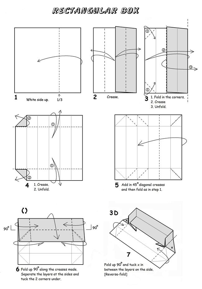 Origami Rectangular Box With Attached Lid Instructions Printable