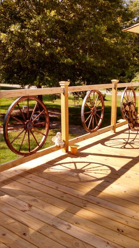 My wagon wheel railing I added to my new deck                                                                                                                                                      More
