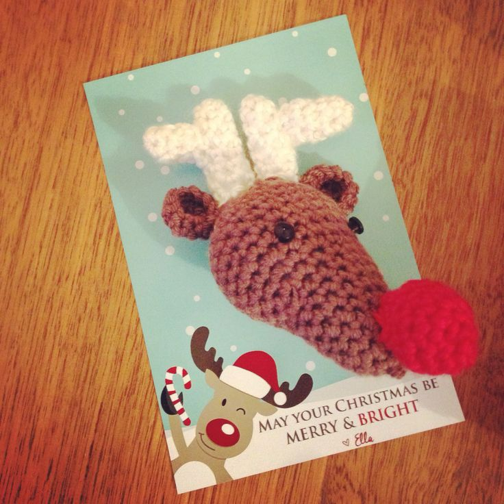 "Crochet Rudolph class gift on a ""May your Christmas be Merry and Bright"" card."