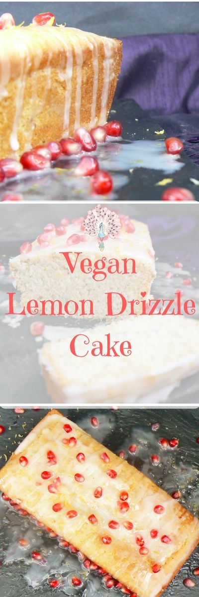 Vegan Lemon Drizzle Cake (Dairyfree, Eggfree) from The Peachicks' Bakery. Light & Fluffy and smothered in a zesty lemon icing - perfect for lemon cake lovers everywhere!