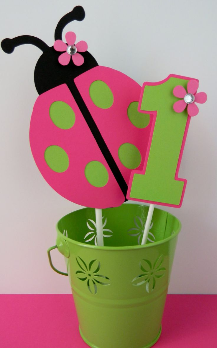 Ladybug Birthday Party Smash Cake Topper - Pink and Green. $8.00, via Etsy.