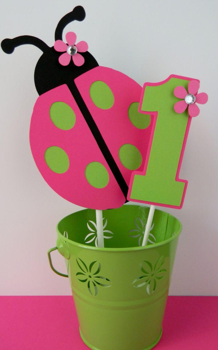 Ladybug Birthday Party Smash Cake Topper by sweetheartpartyshop