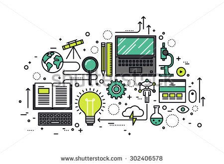 Thin line flat design of power of knowledge, STEM learning process, self education in applied science, computer technology for study. Modern vector illustration concept, isolated on white background.