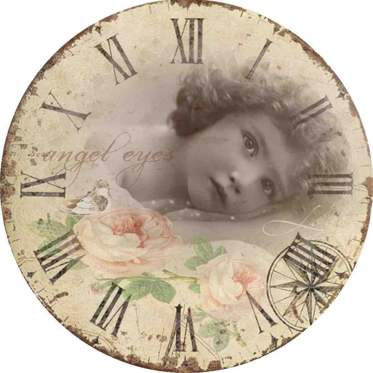 clock with little girl face and roses