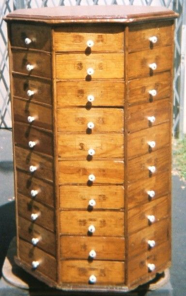 Revolving Octagonal Nut And Bolt Cabinet 80 Drawers Brass Lantern Antiques Craft