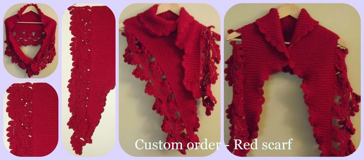 Red crocheted scarf  Find me at https://www.facebook.com/EMajorzCrafts