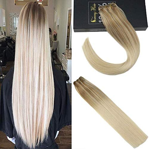 Buy Sunny Salon Quqlity 8A Grade Weft Hair Extensions Human Hair Weft Full Head Ombre Medium Brown Highlight Bleach Blonde 6T613) 22inch 100g/pack online