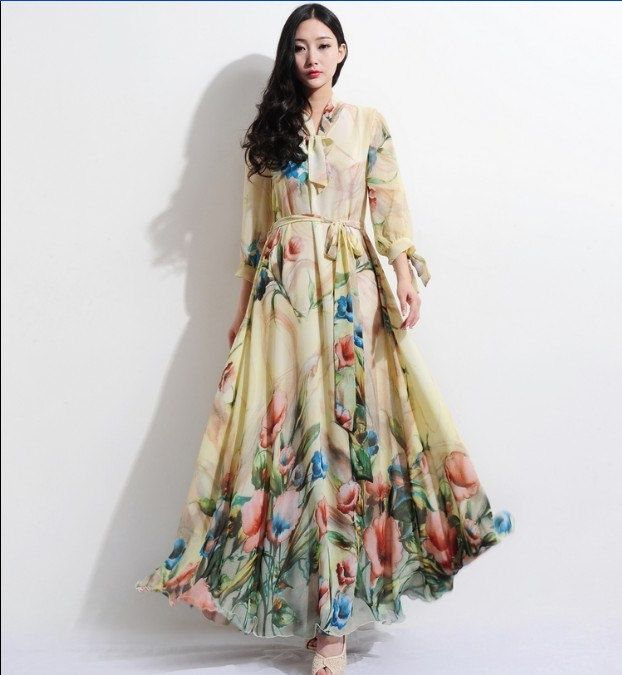 20 Off Bohemian Beige Floral Print Long Sleeve Aline by ChineseHut, $155.00