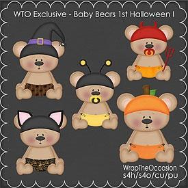 ECU-Baby Bear Halloween Set 1 Clipart