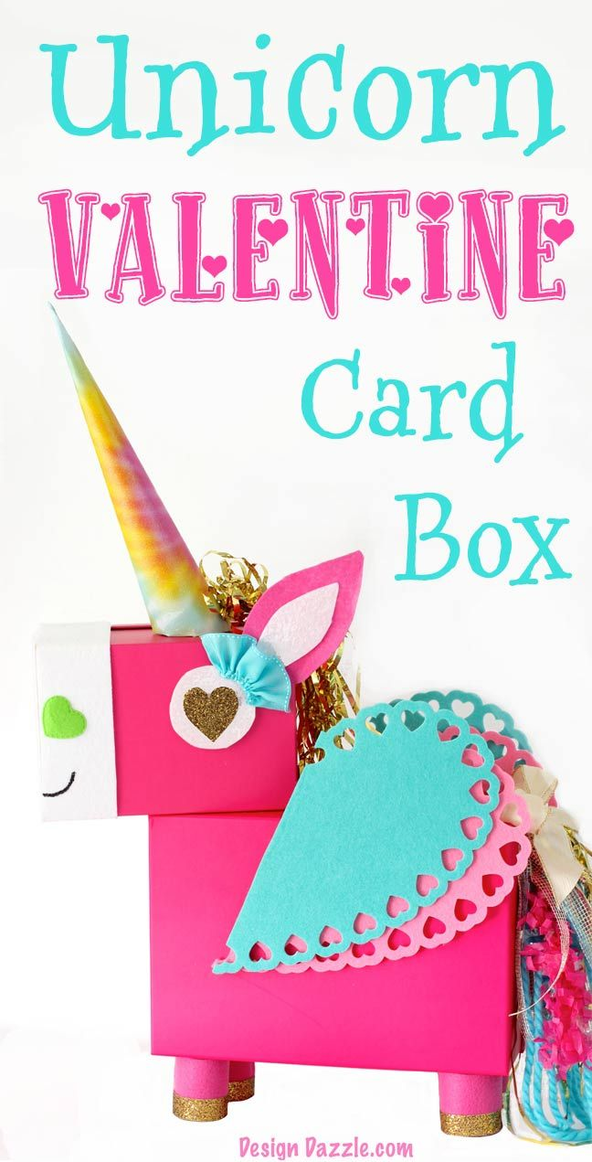 This Unicorn Valentine Card Box DIY project is a fun whimsical twist on a classic valentines card holder! This Unicorn just makes me smile! Step by Step instructions by MichaelsMakers  Design Dazzle.