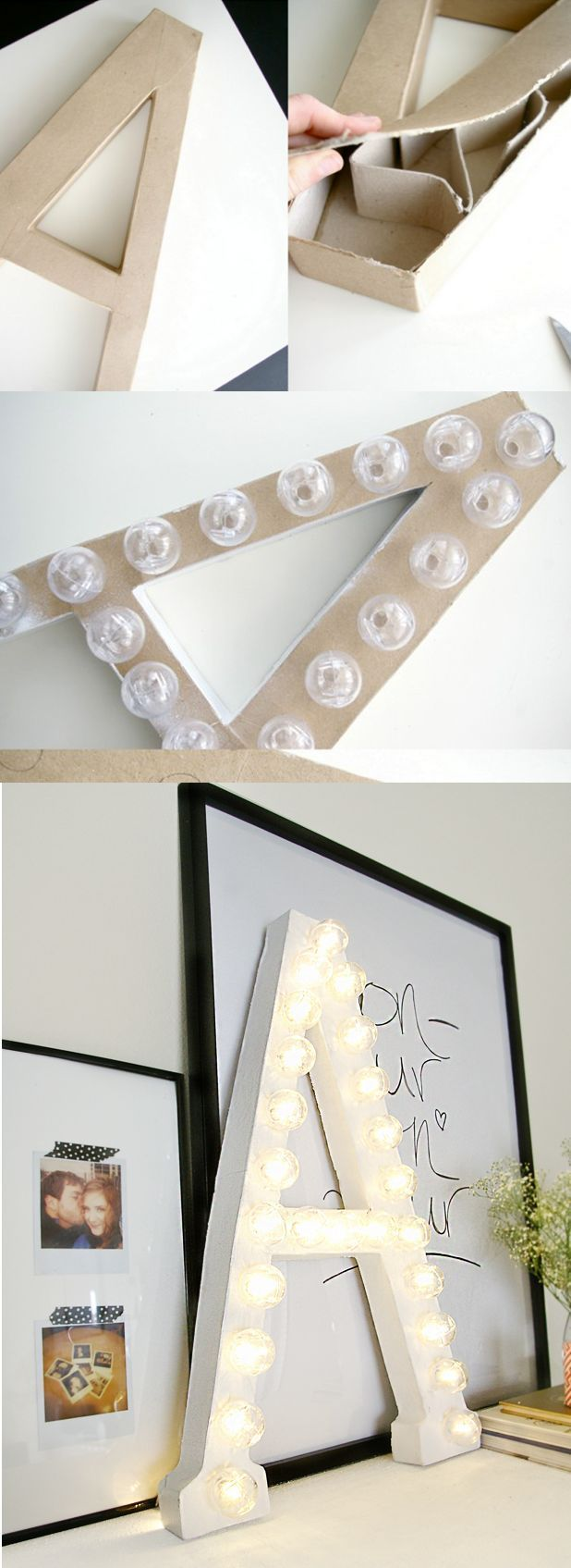 DIY marquee letters with string lights and 3d cardboard letters