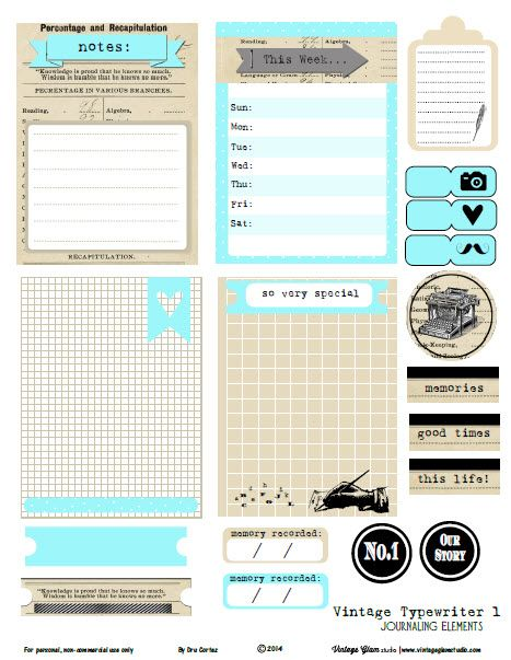 Free Printable Vintage Typewriter 1 Journal Cards and Labels from Vintage Glam Studio