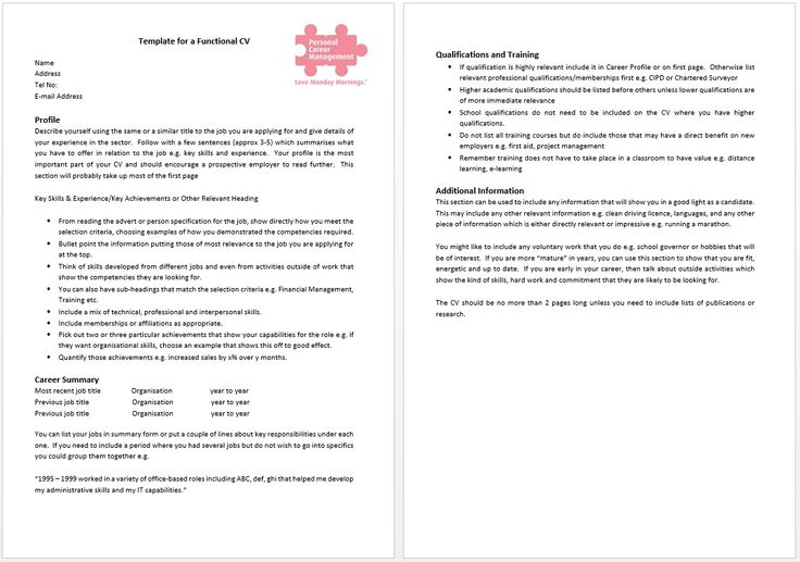 Template for a functional CV. A functional CV format will enable you to highlight in the first page of your CV the skills and experience you have that are of most relevance to the employer. This is particularly useful if the job you are applying to does not relate to your current or or past employment but you have the skills and experience.