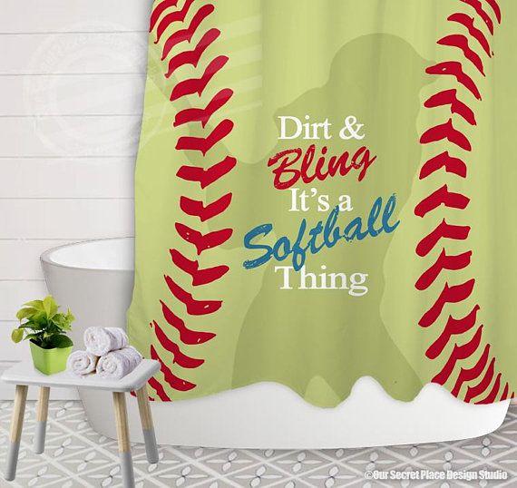 Softball Shower Curtain Girls Shower Curtain Dirt Bling Its A