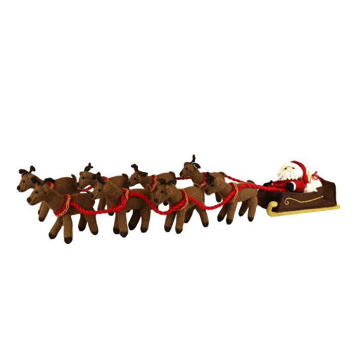 Global Handmade Hope Santa's Sleigh with 8 Reindeer Centerpiece