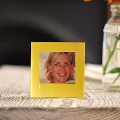 Block Colour Frame Small Yellow  This frame looks great on its own, but can also be part of a lovely collection with our turquoise and fuchsia small frames, which are also inspired by the primary colours.#Love #Spaceform #Gift #Photoframe #London