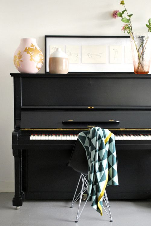 Design*Sponge Sneak Peek The piano, also in the large sitting room area. It is a shame that no one plays the piano regularly at the moment – hopefully one day.