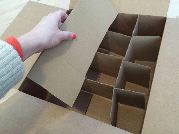 Assemble your FREE DIY cardboard ornament storage.