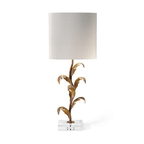 Porta Romana - SLB39, Florentine Leaf Lamp - Venetian Gold with Perspex base