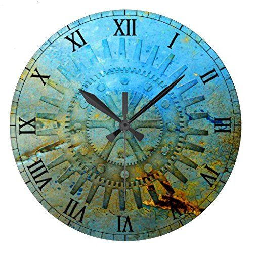 Aqua Steampunk Gears Wall Clock   Http://steampunkvapemod.com/aqua