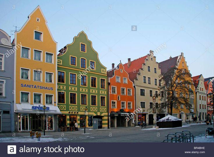Theresienstrasse, houses, winter, Ingolstadt, Bavaria, Germany, Europe Stock Photo