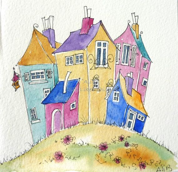 Colourful Houses on a hill in bright colours a fun by shelikesthis, £12.50