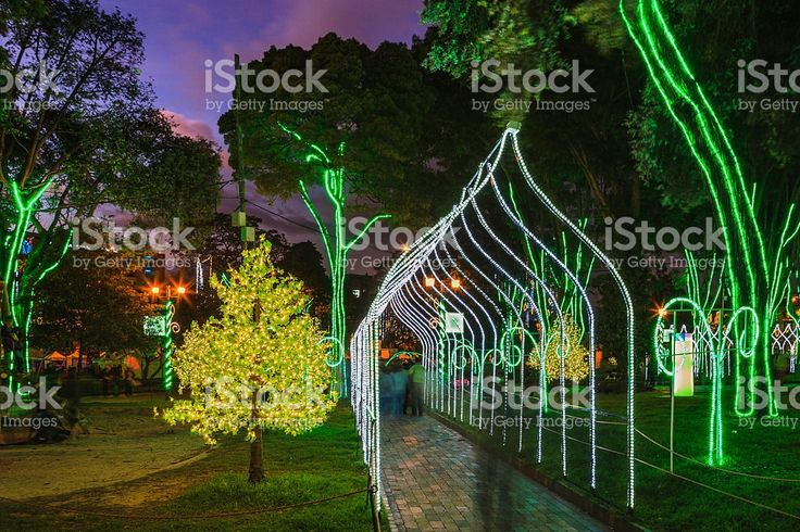 Bogotá Colombia - Christmas LED lighting During Blue Hour royalty-free stock photo