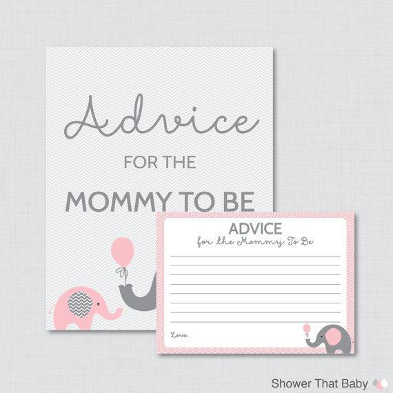 advice for mommy to be cards and sign elephant baby shower printable