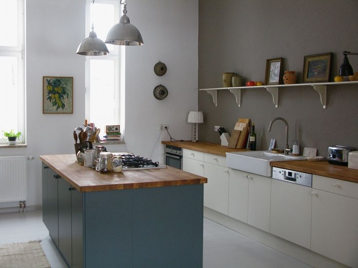 Calm modern country kitchen with gray blue, white, ivory, and warm gray colors, IKEA farmhouse sink