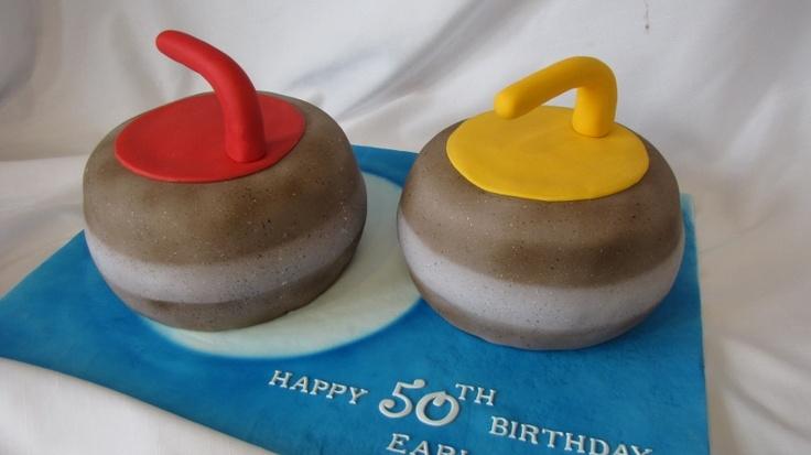 Curling rocks cake