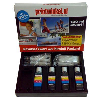 HP navulset zwart  voor de cartridges met nr. 14, 15, 19, 20, 21, 26, 27, 29, 33, 40, 45, 56, 300, 301, 332, 337, 338, 339, 350, 364, 901 & 920.  Met de HP Navulset Zwart kunt u met gemak uw cartridges 8 tot 10x navullen! De inkt is onder de strengste normen geproduceerd en heeft een ISO 9001 certificaat.