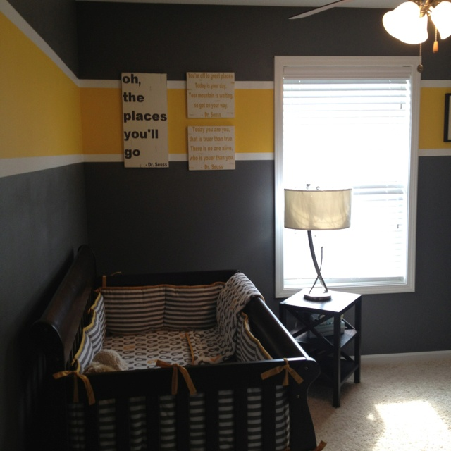 Baby boy room - I like the charcoal and yellow idea...