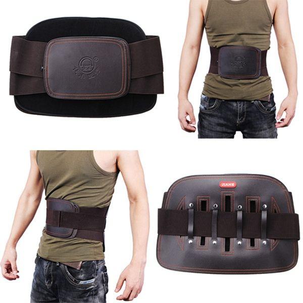 JIAHE Leather Lumbar Back Support Belt Spine Correction Brace