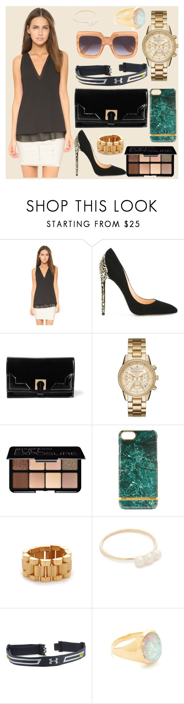 """Fashion arounds you"" by camry-brynn ❤ liked on Polyvore featuring Cooper & Ella, Cerasella Milano, Halston Heritage, MICHAEL Michael Kors, Smashbox, Amber Sceats, EF Collection, Under Armour, Jacquie Aiche and Gucci"