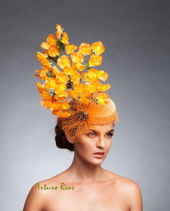 Orange fascinator Orange Derby hat Cocktail hat by ArturoRios
