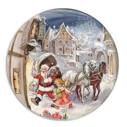 Small Santa in Village Papier Mache Ball for Filling