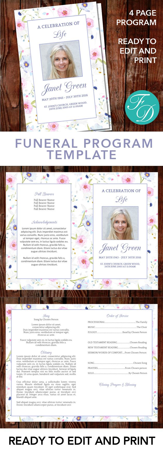 Floral Printable Funeral program ready to edit & print Simply purchase your funeral templates, download, edit with Microsoft Word and print. #obituarytemplate #memorialprogram #funeralprograms #funeraltemplate #printableprogram #celebrationoflife