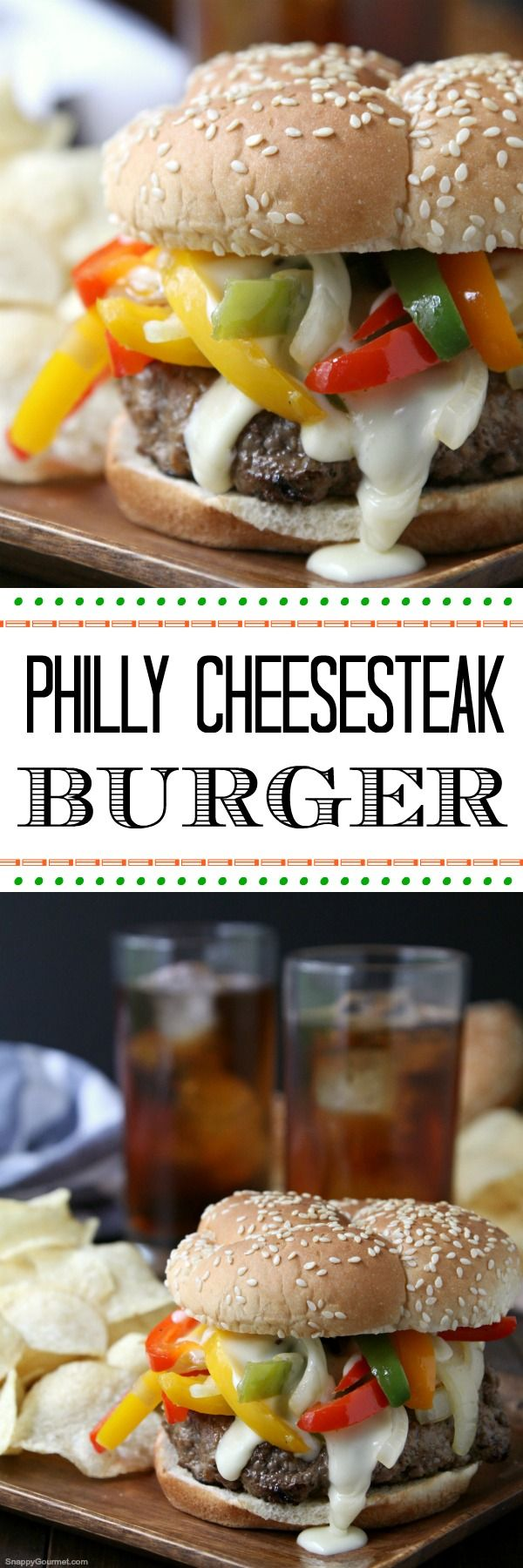 Philly Cheesesteak Burger - an easy burger recipe great for Memorial Day weekend, Father's Day, 4th of July or summer! #ad SnappyGourmet.com