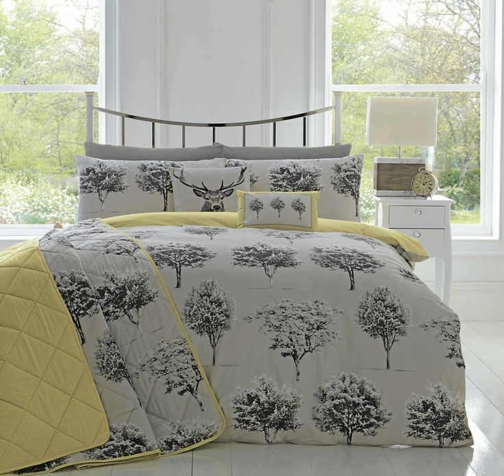 Appletree® Yellow Grey Woodland Trees Duvet Cover Reversible Easy Care Quilt Set 100% Cotton Rothay Single: Amazon.co.uk: Kitchen & Home