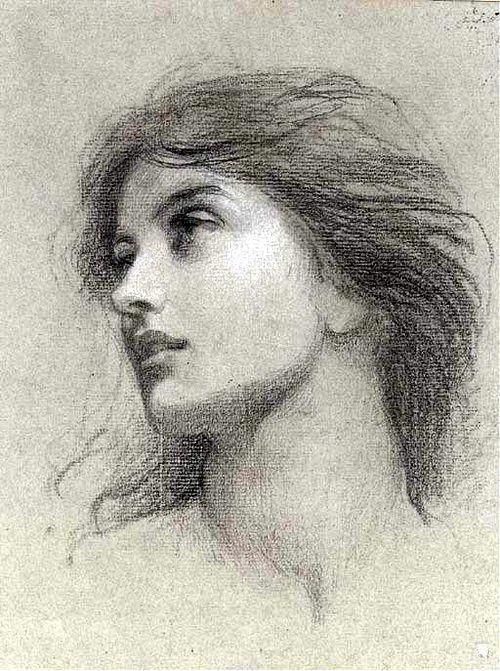 "Sir Francis Bernard Dicksee - study for the head of the damsel in ""Chivalry"""