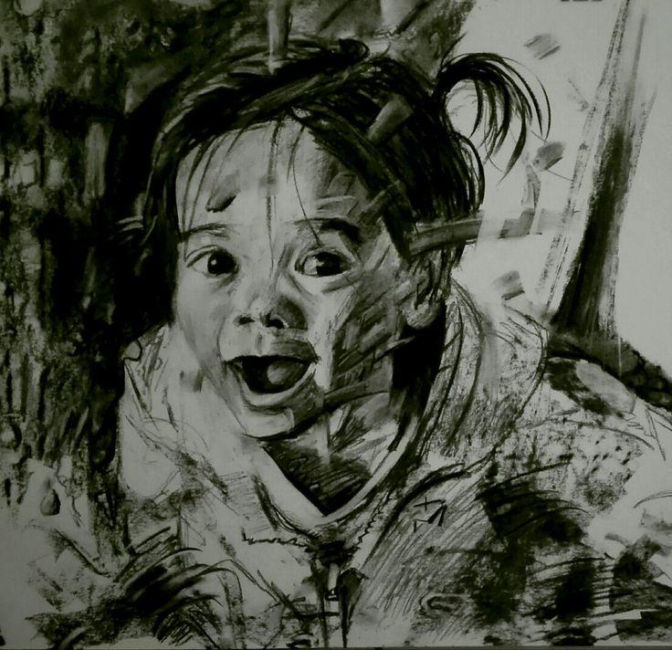 Charcoal on paper portrait