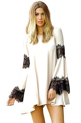 Elan Boho Chiffon and Lace Tunic Dress