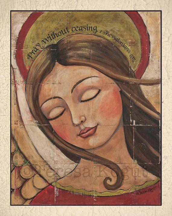 PRAY (with border) 8x10 print by Teresa Kogut