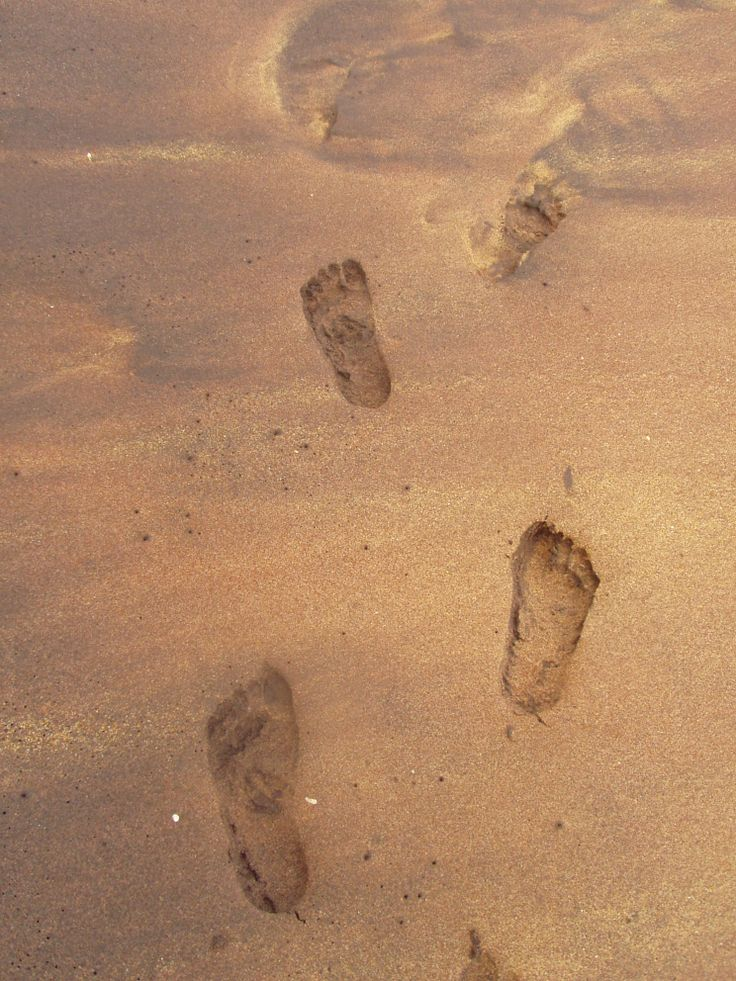 my footsteps on a beach in Sri Lanka
