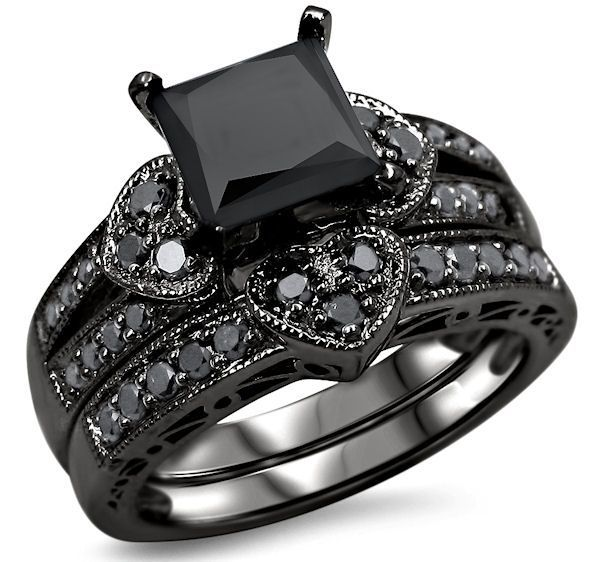 2.27ct Black Princess Cut Diamond Heart Engagement Ring Wedding Set 14k Black Gold