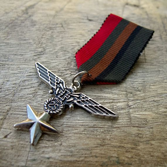 Military Five color Ribbon Bronze Wings Star Medal Badge Custom Jewelry with safety pin for clothing decoration
