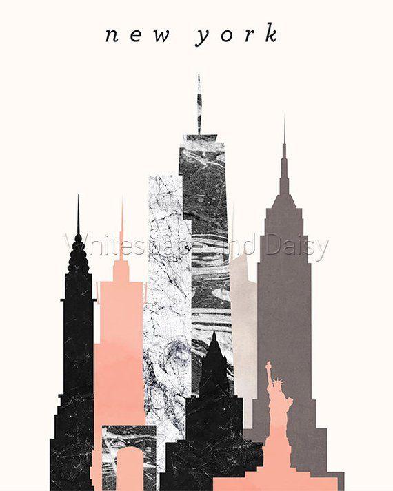 New York Skyline Kunst Art in New York New Jersey Karte drucken druckbare Wand Plakatkunst New York New York New York Silhouette Art