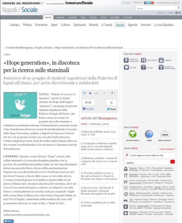 Gli organi di stampa sono molto attenti alle nostre iniziative, qui il Corriere parla del nostro impegno:)